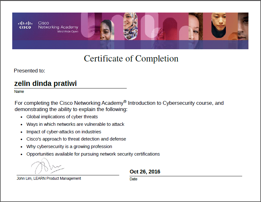 Students Cisco Class SMKN 1 Geger have Completed a Course on Cyber Security